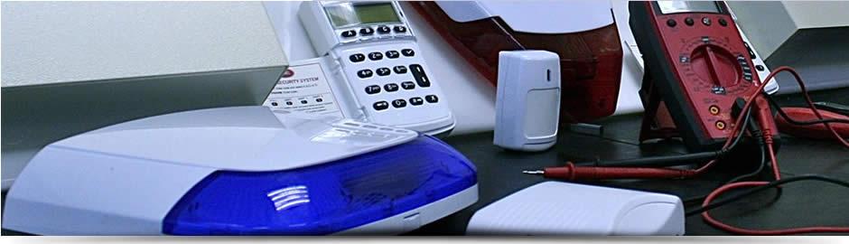 Alarms on workbench, Alarm Services Dublin, Alarm Repairs, Faulty Alarm systems
